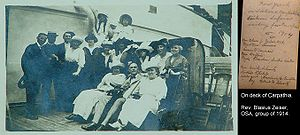 On-deck image of passengers on RMS Carpathia d...