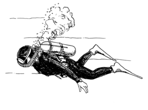 English: Line art drawing of a SCUBA diver