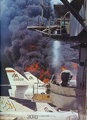 Photo of the fire aboard the U.S. Navy aircraf...