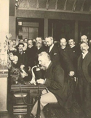 Bell on the telephone in New York (calling Chi...