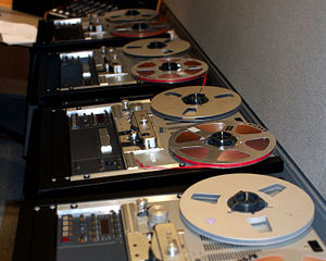 Tape players in the British Library Sound Archive.