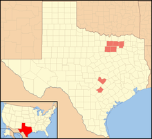 Map of Texas, with Collin, Travis, Dallas, Denton, Guadalupe, Tarrant and Hunt Counties colored in green.