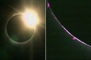"Left: The sun creates a ""diamond ring&quo..."