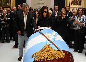 Español: La presidenta Cristina Fernández y el...