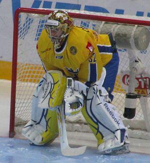 Mikael Tellqvist in a match against Finland (7...