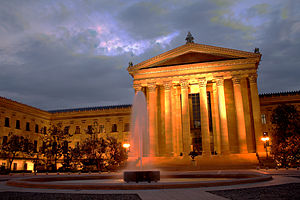 The front facade of the Philadelphia Museum of...