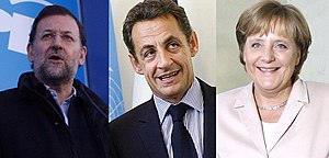 Mariano Rajoy, Nicolas Sarkozy y Angela Merkel