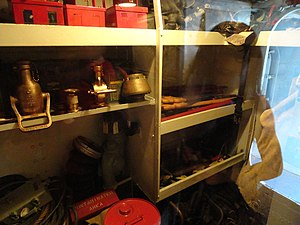 English: A storage room in the USS Cassin Youn...