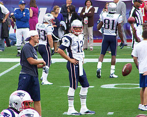 English: Tom Brady with Wes Welker and Randy M...