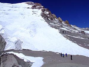 English: Polish Glacier on Aconcagua from 6000m.