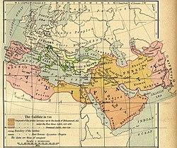 La expansión islámica hasta 750.Del Historical Atlas de William R. Shepherd, 1923.
