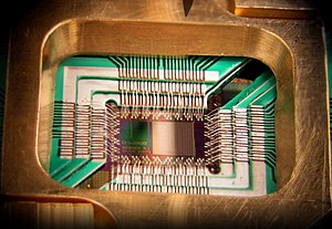 English: Photograph of a chip constructed by D...