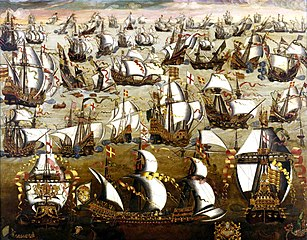 The Spanish Armada and English ships in August 1588, by unknown painter (English School, 16th century)
