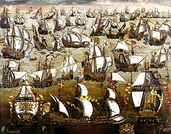 English ships and the Spanish Armada, August 1588.