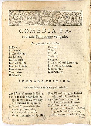 Title page of a comedy by Spanish playwright L...