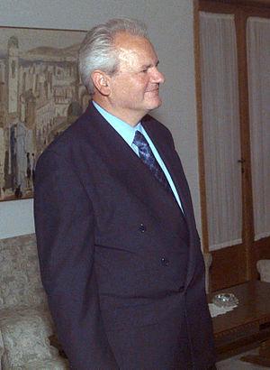 Serbian President Slobodan Milosevic attending...