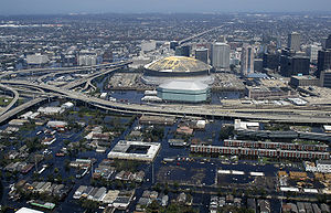 An aerial view of the flooding near downtown N...