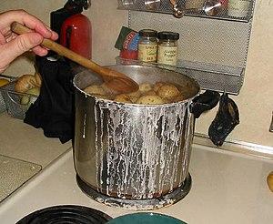 Cooking salt potatoes in Syracuse, July 2005.