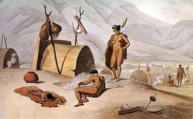 Sameul Daniell - Khoisan besig om sprinkane te braai - 1804