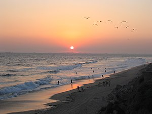 Sunset at Huntington Beach, California.