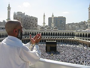 Supplicating Pilgrim at Masjid Al Haram. Mecca...