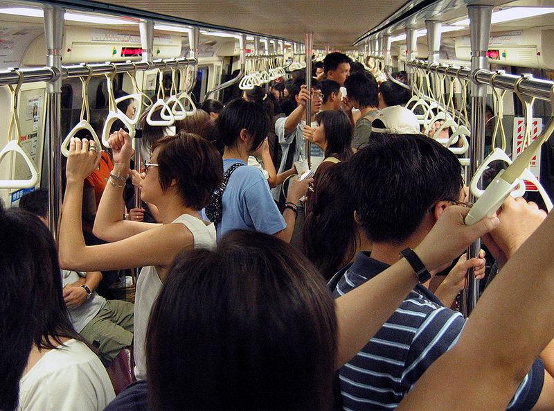 (Photo, courtesy of wikipedia)  Inside the MRT from Taipei Main Station.