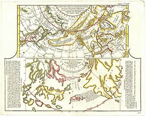 1772 Vaugondy - Diderot Map of Alaska, the Pac...