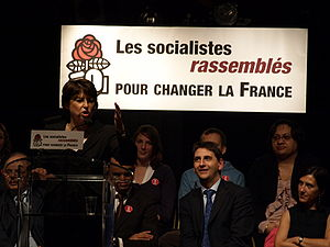 Martine Aubry speaking at Aubervilliers.