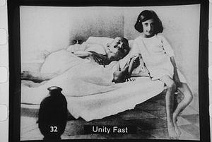 Gandhi fasting with Indira, 1924.