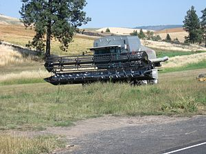 AGCO Gleaner combine harvester along the road ...