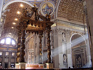 English: Bernini's baldacchino, inside Saint P...
