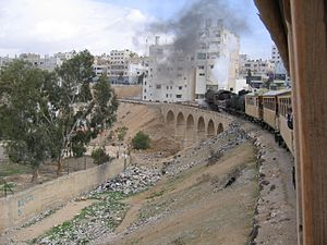 Zarqa from a train on the Hejaz Railway