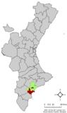 Localización de Alicante respecto a la Comunidad Valenciana