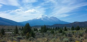 English: Mount Shasta and Shastina as seen fro...