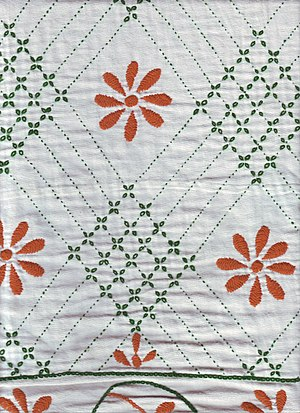 Flower motif in contemporary nakshi kantha