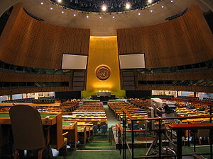 United Nations General Assembly chamber.