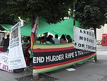 Example of foreign criticism: a demonstration against Mugabe's regime next to the Zimbabwe embassy in London (mid-2006).