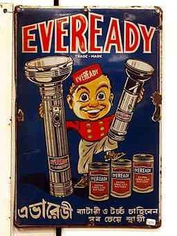 Enamel advert, Eveready, extra long life battery