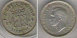 King George VI sixpennny piece, seen from either side
