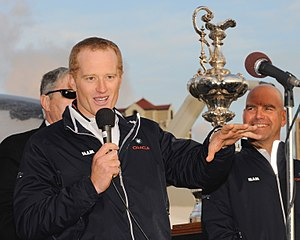 Skipper James Spithill fired up the crowd when...