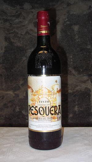A bottle of Pesquera Tinto Crianza 1995, a win...