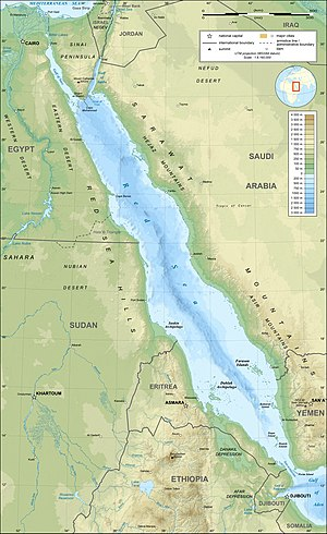 Topographic map in English of the Red Sea, UTM...