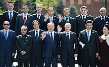 Nazarbayev with leaders of China, Russia and India during the Moscow Victory Day Parade, 9 May 2015