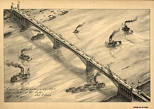 English: An 1875 drawing of Eads Bridge by Cam...