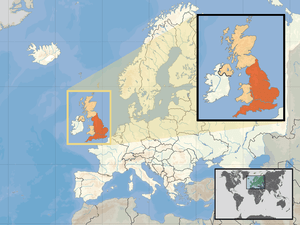 Location of England in the UK and Europe, on t...