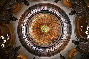 Illinois State Capitol dome from below