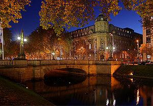 The Dusseldorf Königsallee at night