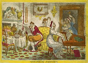 In Matrimonial Harmonics (1805), Gillray caric...