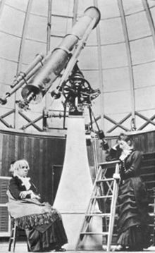 Maria Mitchell at the telescope