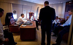 Aboard Air Force One, President Barack Obama t...